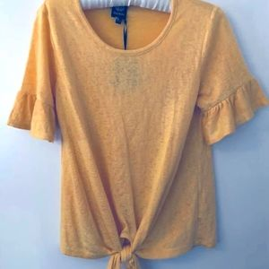 Bobeau tie hem ruffle-sleeve top in golden yellow